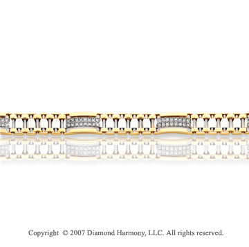 14k Two Tone Gold 1 1/3 Carat Diamond Men's Bracelet
